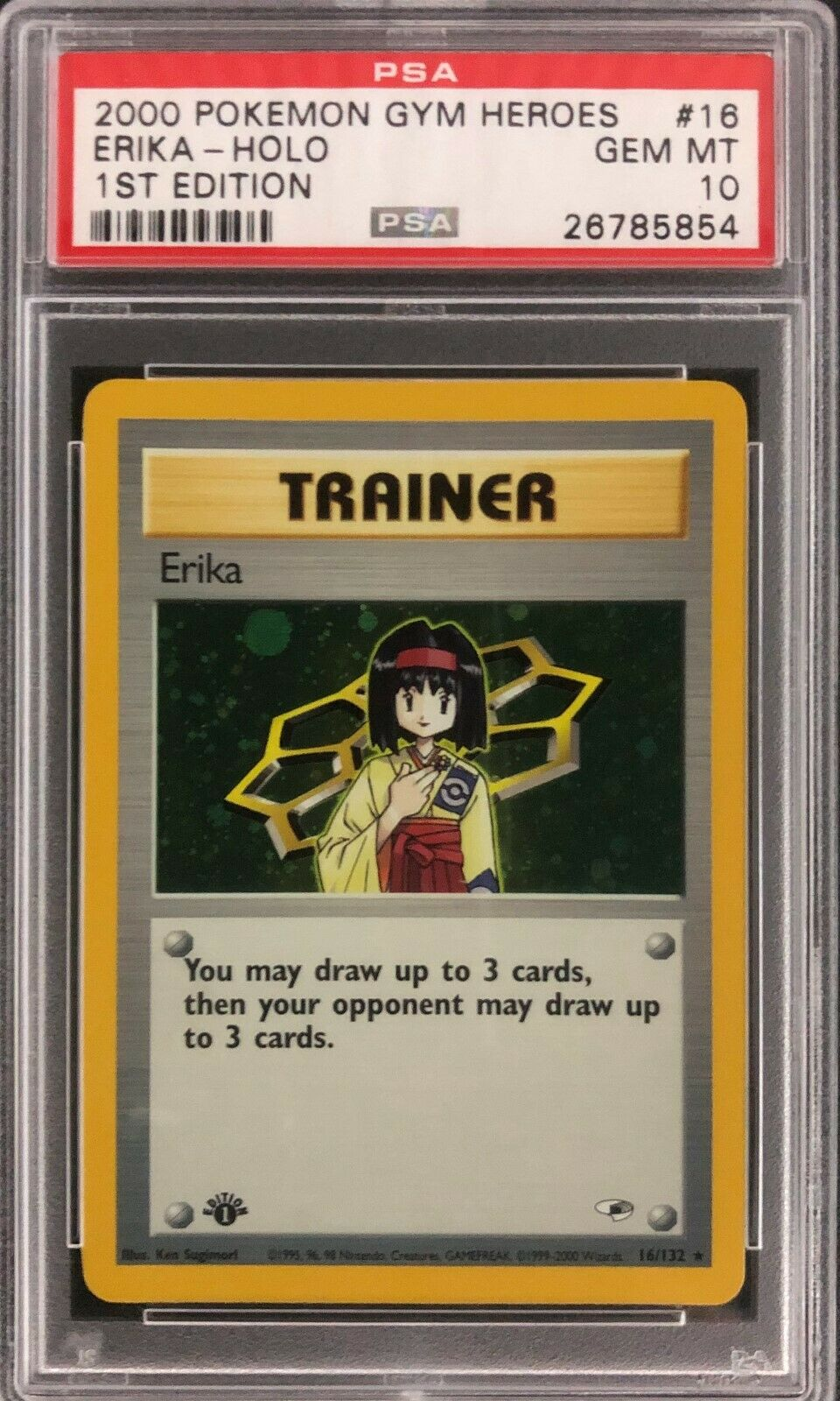 1st Edition Gym Heroes Erika Holo Pokemon Card Mint PSA 10