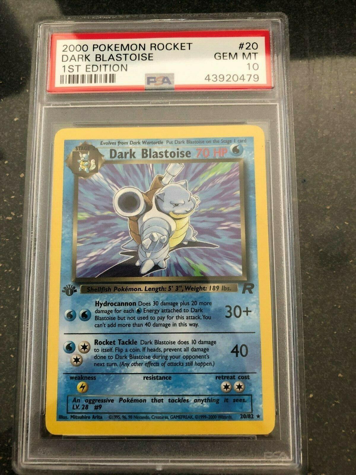 Dark Blastoise 2000 1st Edition 2082 PSA 10 Mint Team Rocket Rare Pokemon Card
