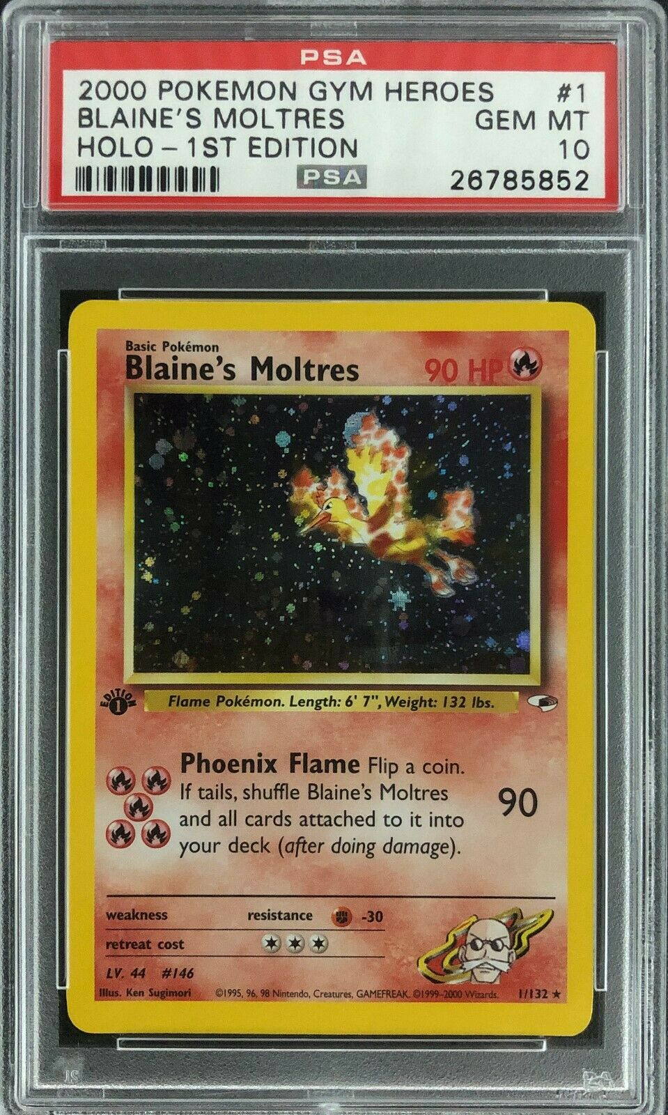 1st Edition Gym Heroes Blaines Moltres Holo Pokemon Card Mint PSA 10