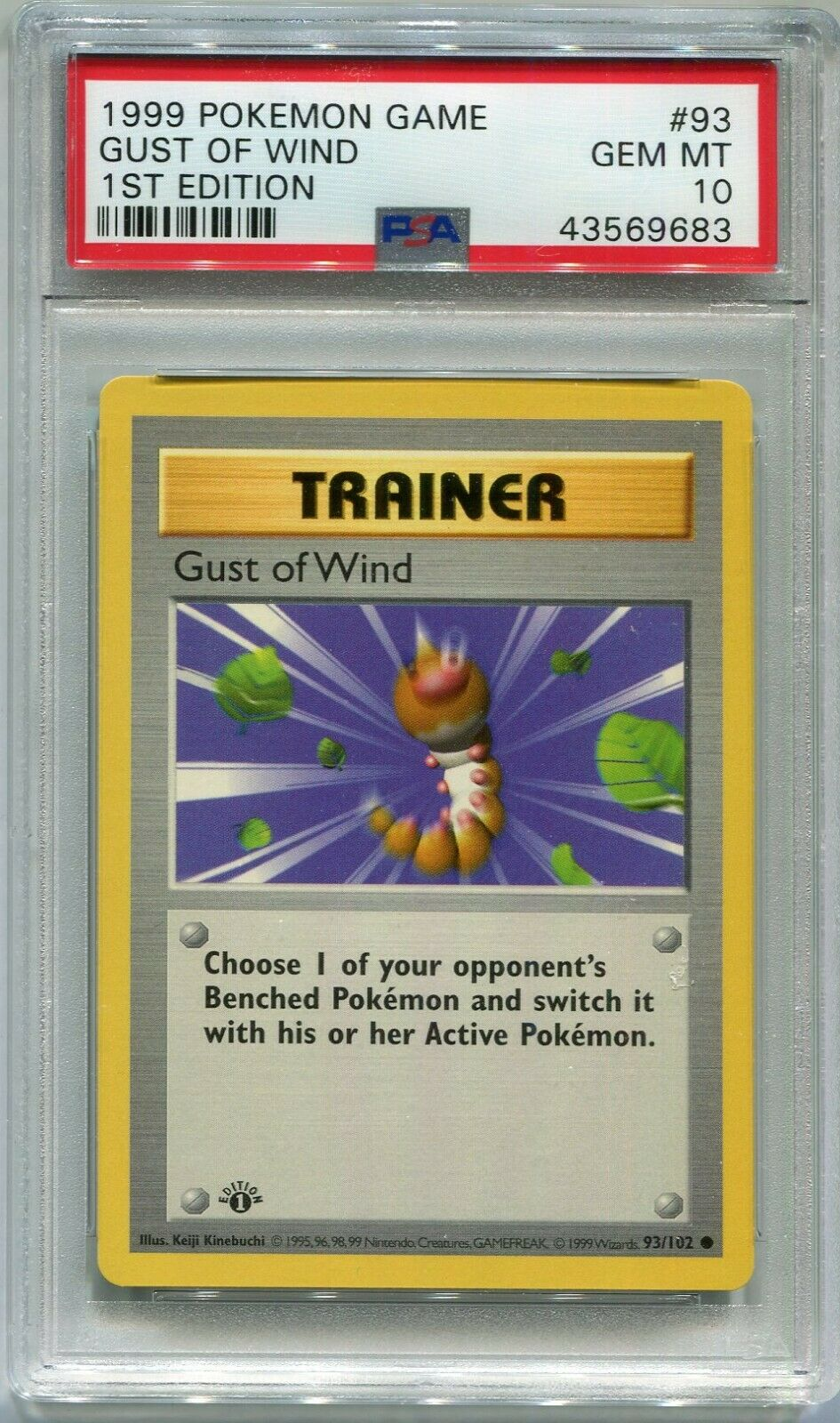 Pokemon Card 1st Edition Shadowless Gust of Wind Base 93102 PSA 10 Gem Mint