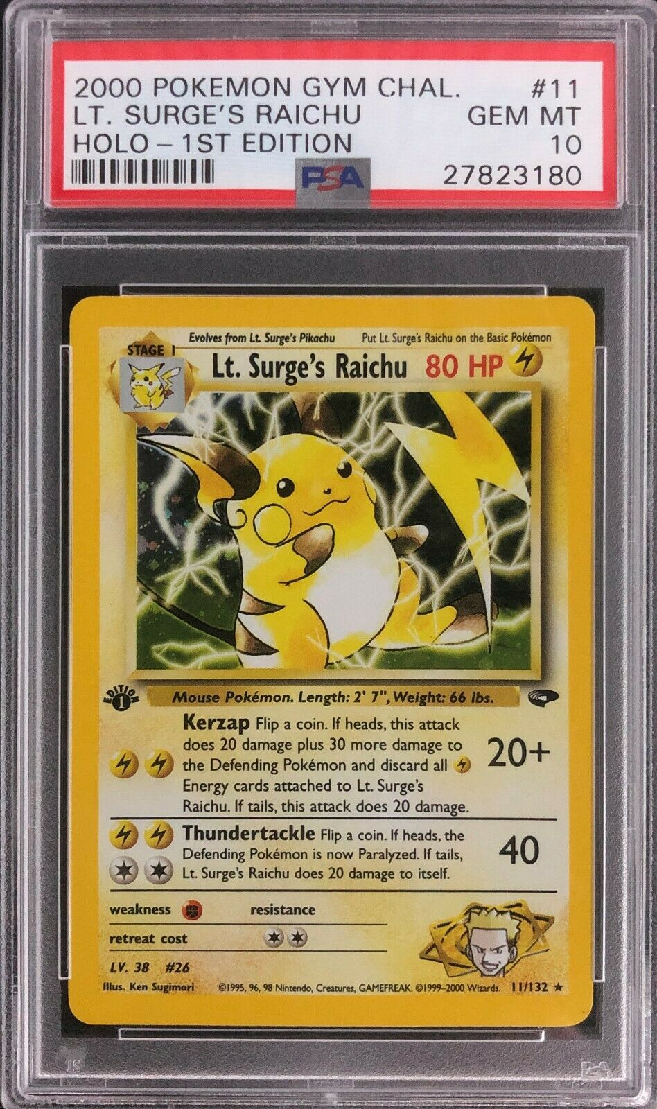 1st Edition Gym Challenge Lt Surges Raichu Holo Pokemon Card Mint PSA 10