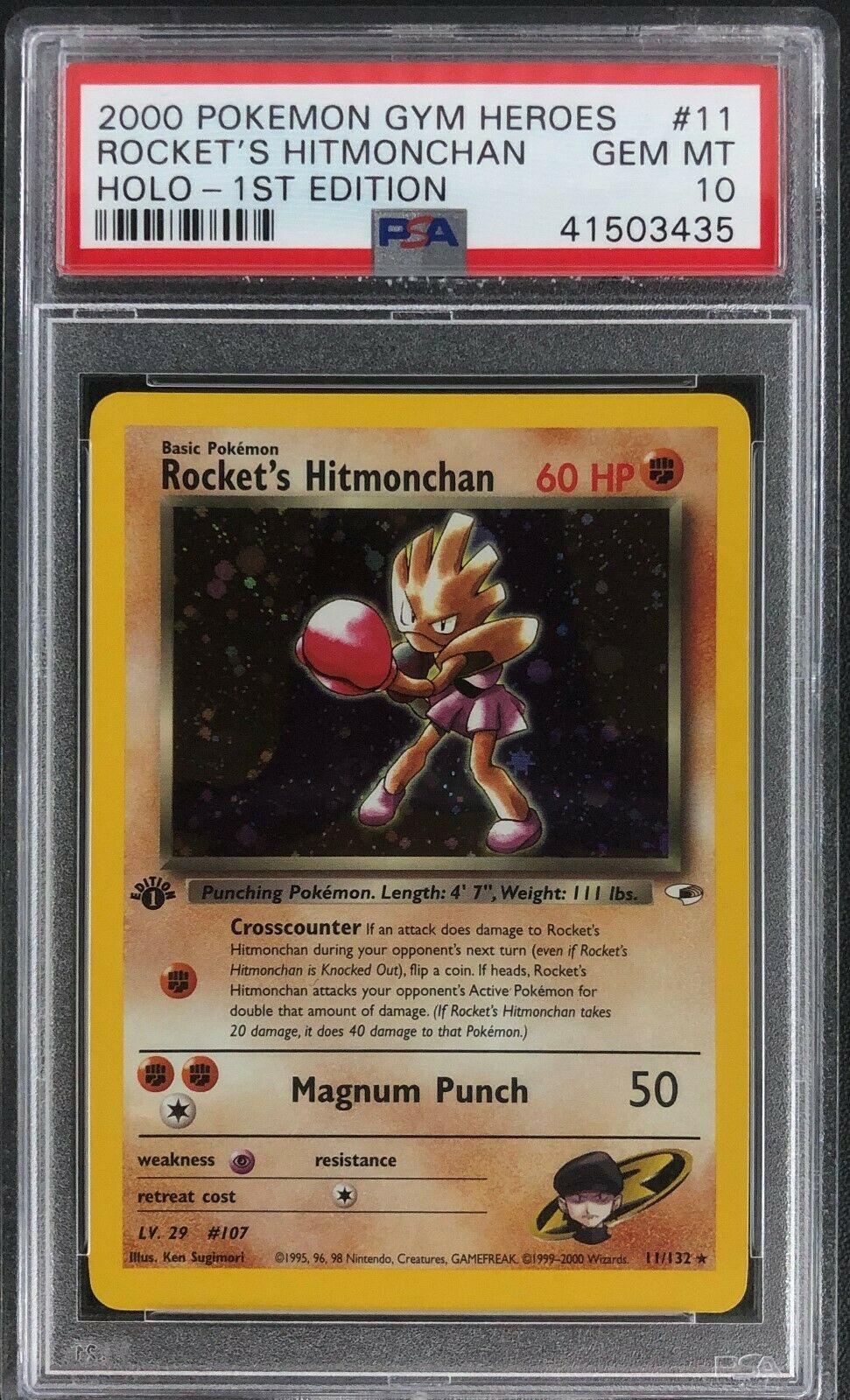 1st Edition Gym Heroes Rockets Hitmonchan Holo Pokemon Card Mint PSA 10
