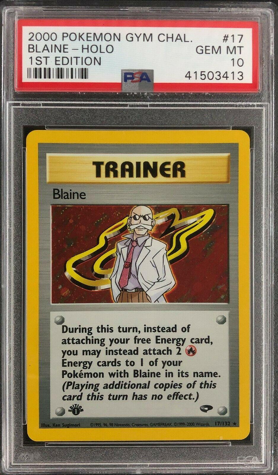 1st Edition Gym Challenge Blaine Holo Pokemon Card Mint PSA 10