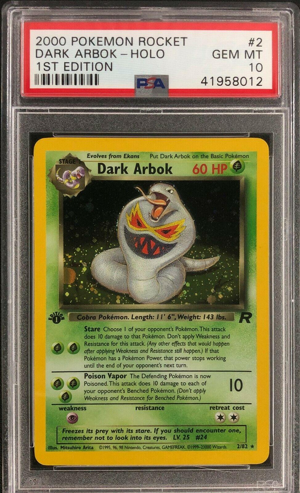 1st Edition Team Rocket Dark Arbok Holo Pokemon Card Mint PSA 10