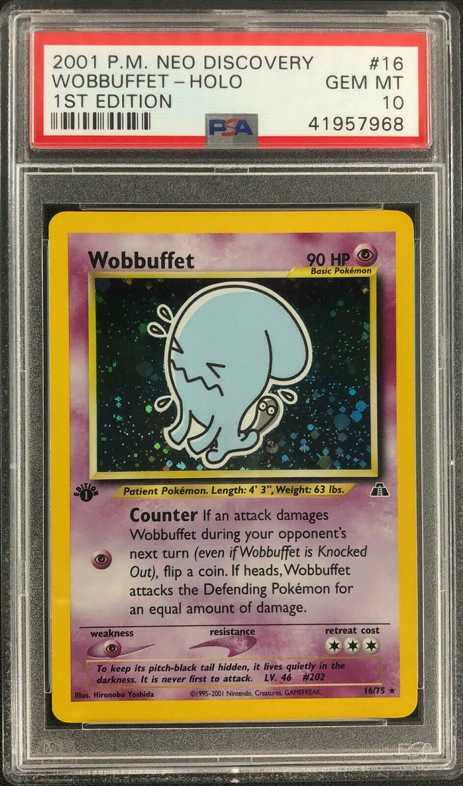 1st Edition Neo Discovery Wobbuffet Holo Pokemon Card Mint PSA 10