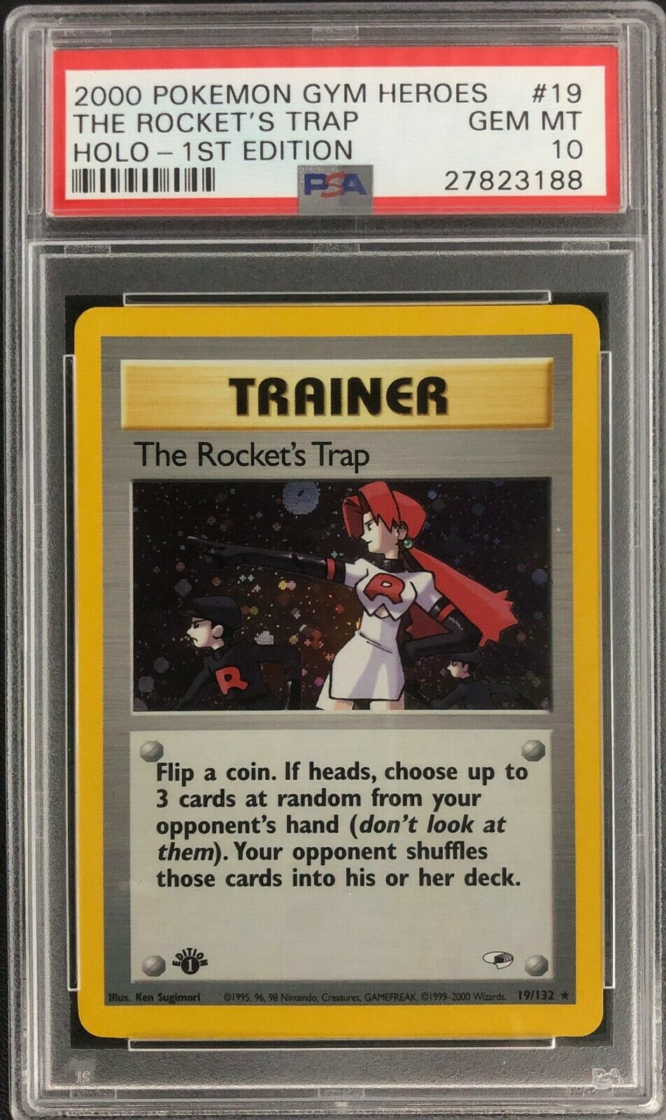 1st Edition Gym Heroes The Rockets Trap Holo Pokemon Card Mint PSA 10