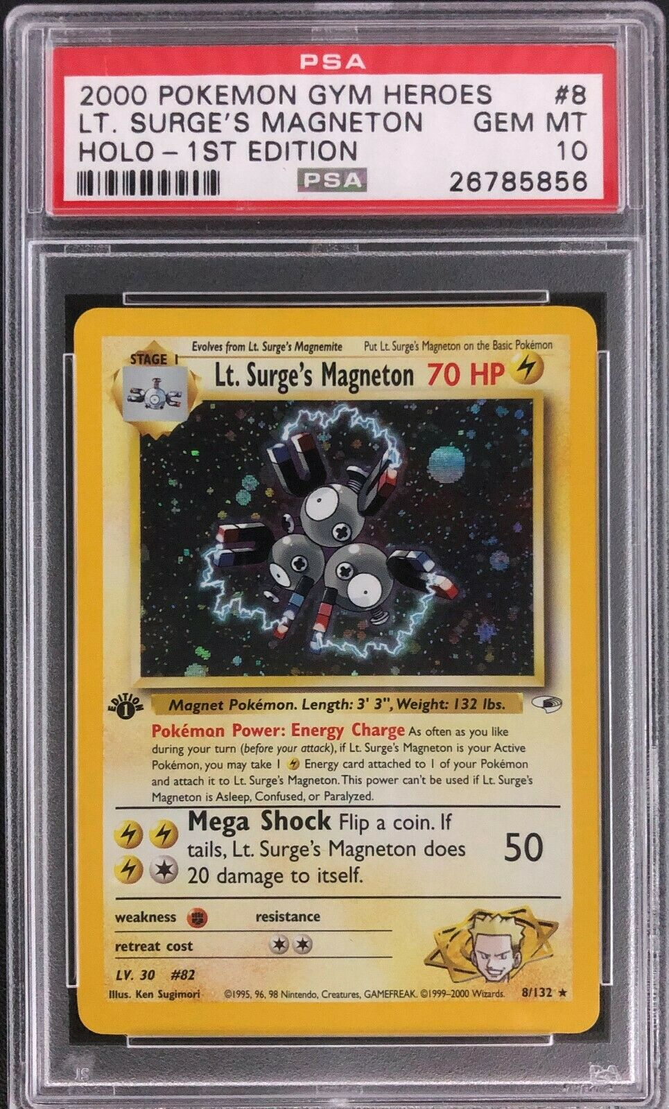 1st Edition Gym Heroes Lt Surges Magneton Holo Pokemon Card Mint PSA 10