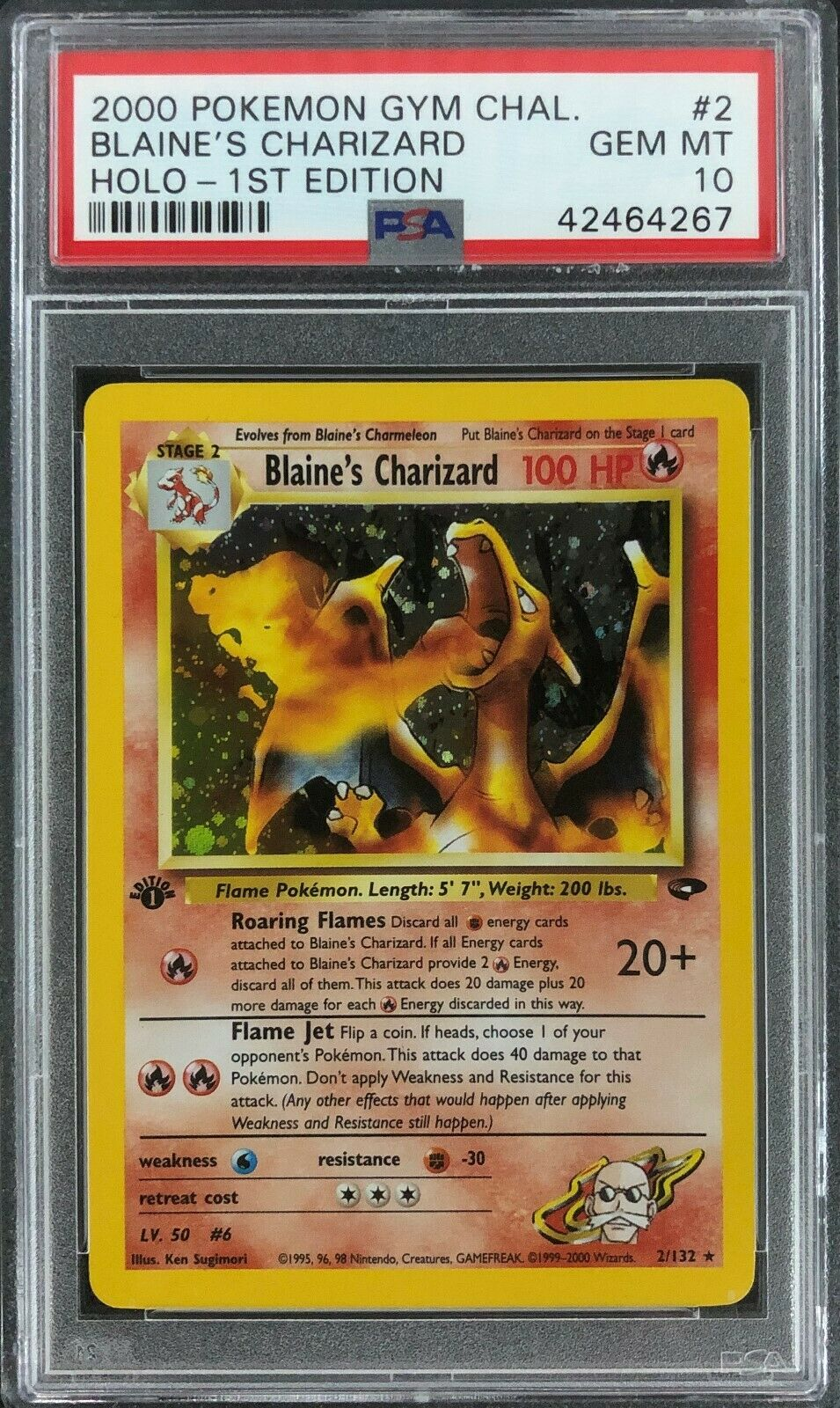 1st Edition Gym Challenge Blaines Charizard Holo Pokemon Card Mint PSA 10