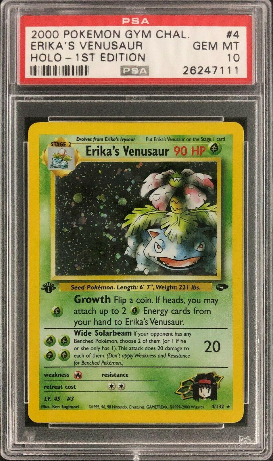 1st Edition Gym Challenge Erikas Venusaur Holo Pokemon Card Mint PSA 10