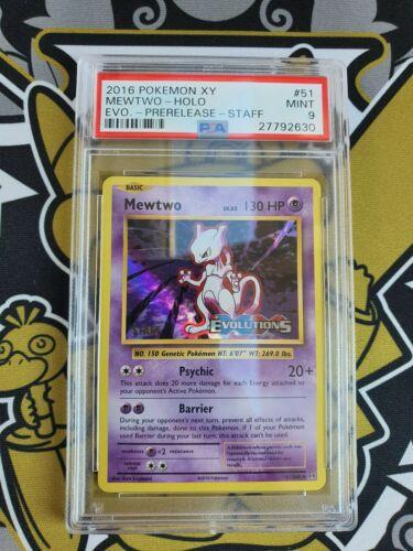 PSA 9 Mewtwo Mewtu Prerelease XY Evolutions STAFF Pokemon