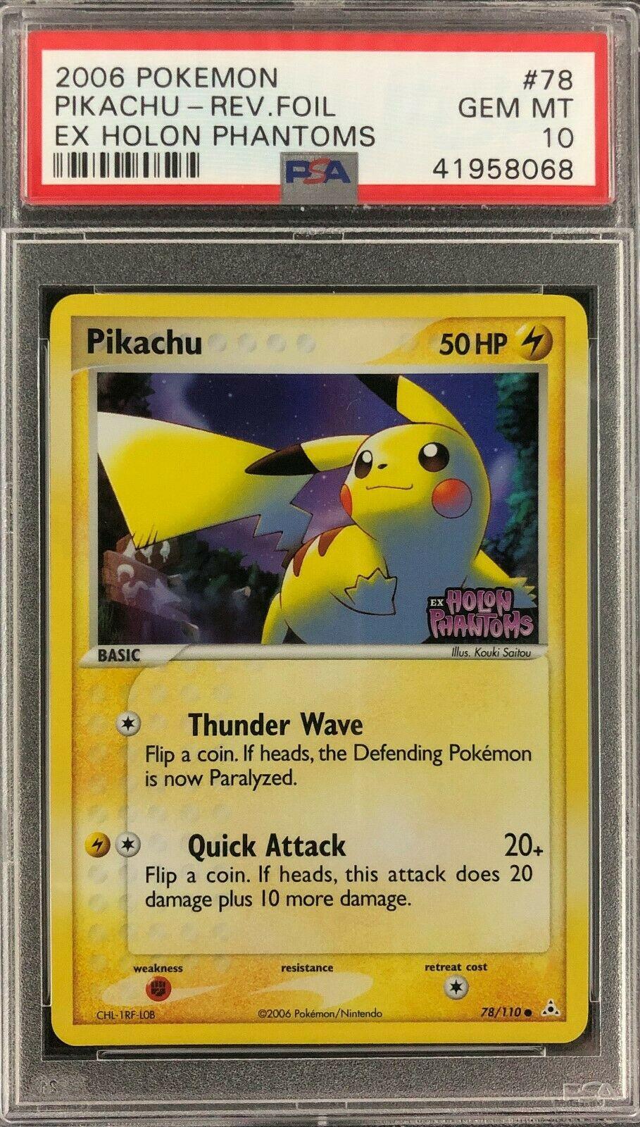 EX Holon Phantoms Pikachu Reverse Foil Holo Pokemon Card Mint PSA 10