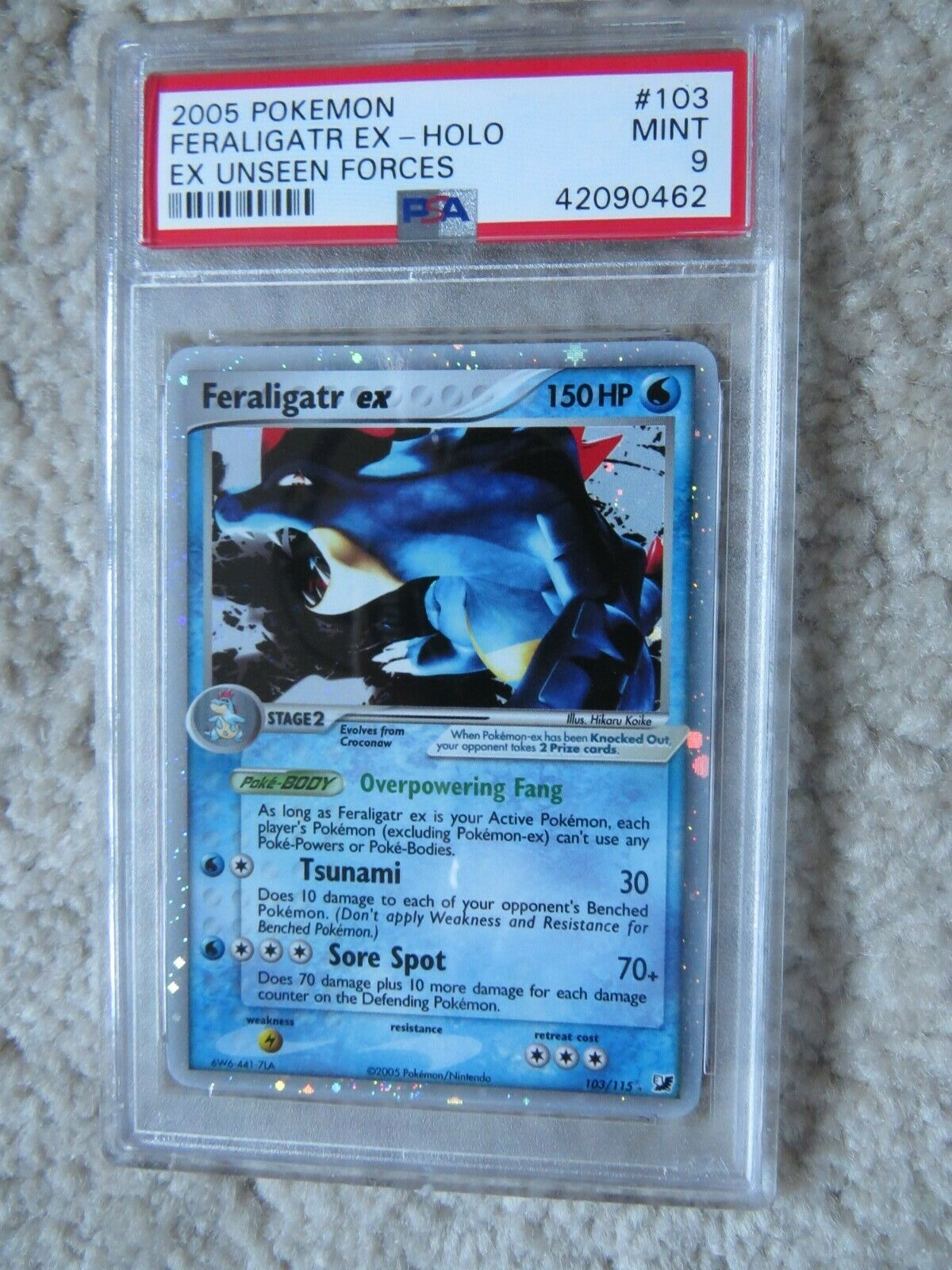Pokemon Card  Ex Unseen Forces  103 Feraligatr ex PSA 9 Mint