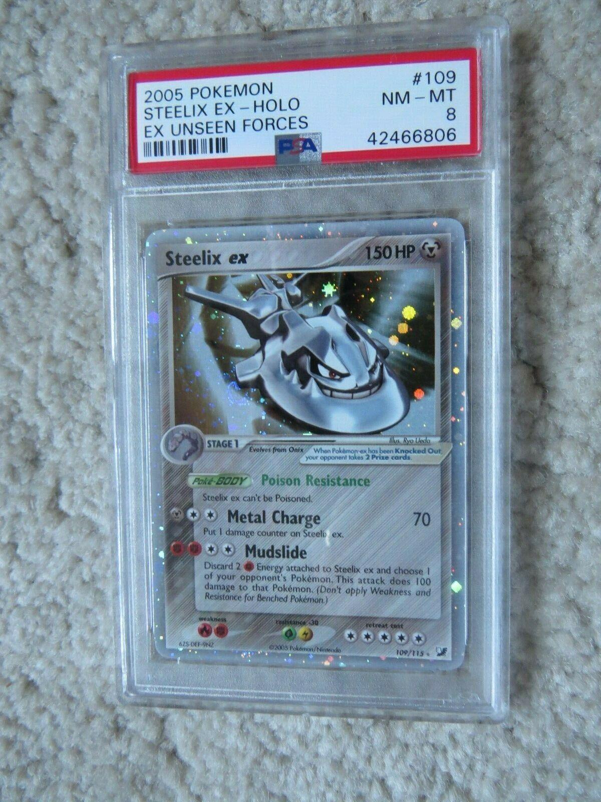 Pokemon Card  Ex Unseen Forces  109 Steelix ex PSA 8 NM  Mint