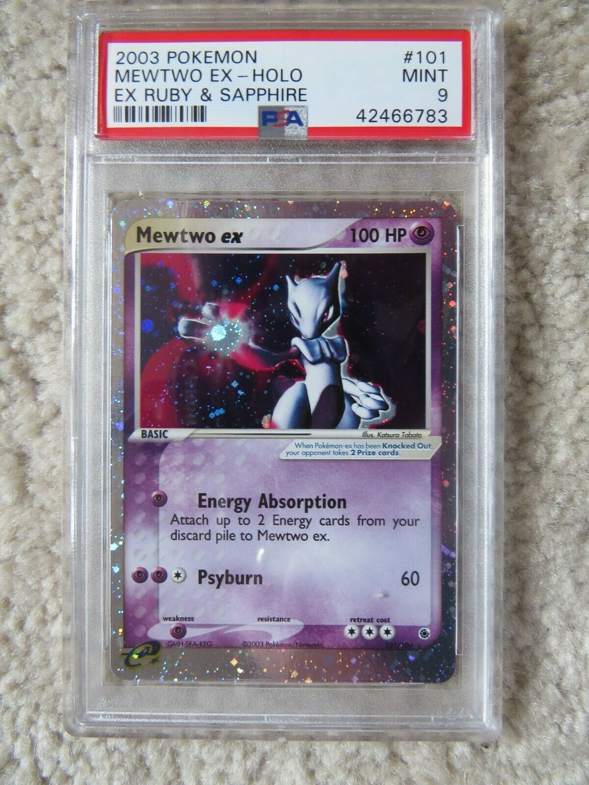 Pokemon Card  Ex Ruby  Sapphire 101 Mewtwo ex PSA 9 Mint