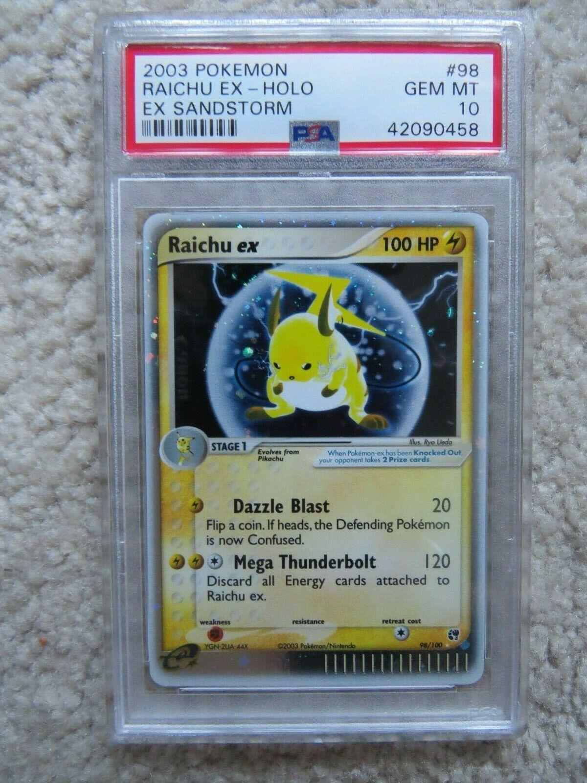 Pokemon Card  Ex Sandstorm  98 Raichu ex PSA 10 Gem Mint