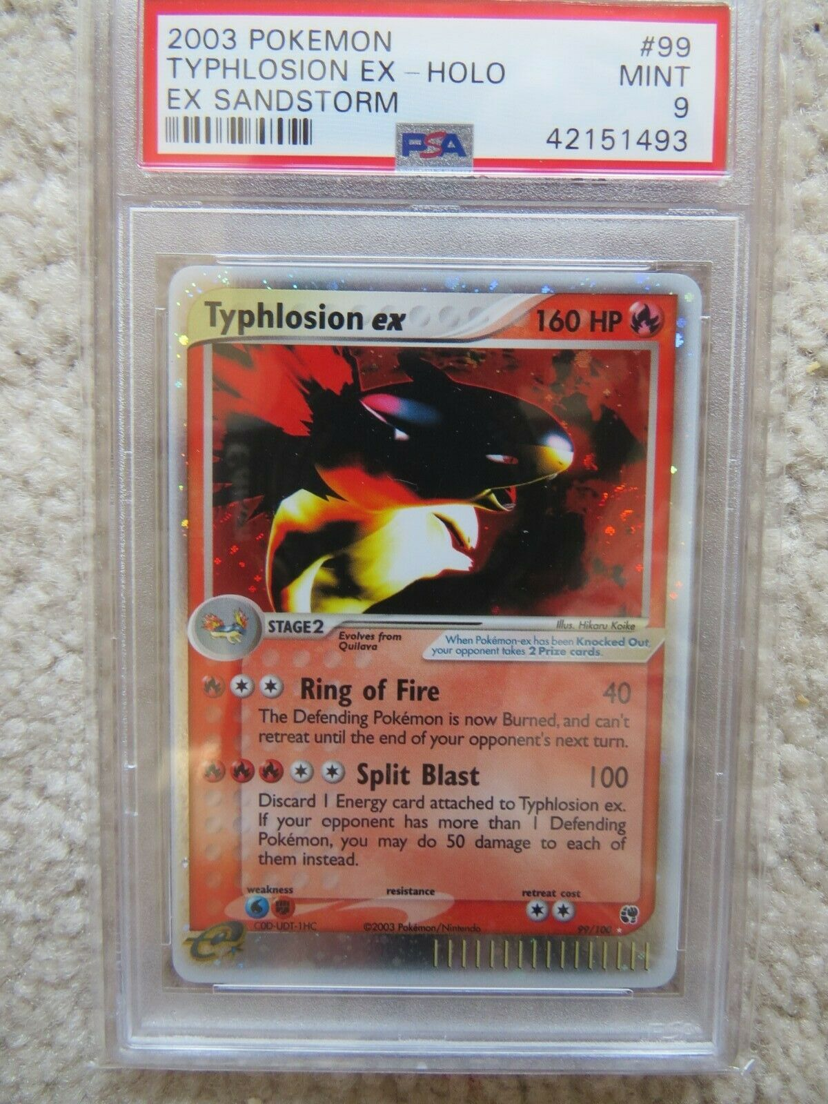 Pokemon Card  Ex Sandstorm  99 Typhlosion ex PSA 9 Mint
