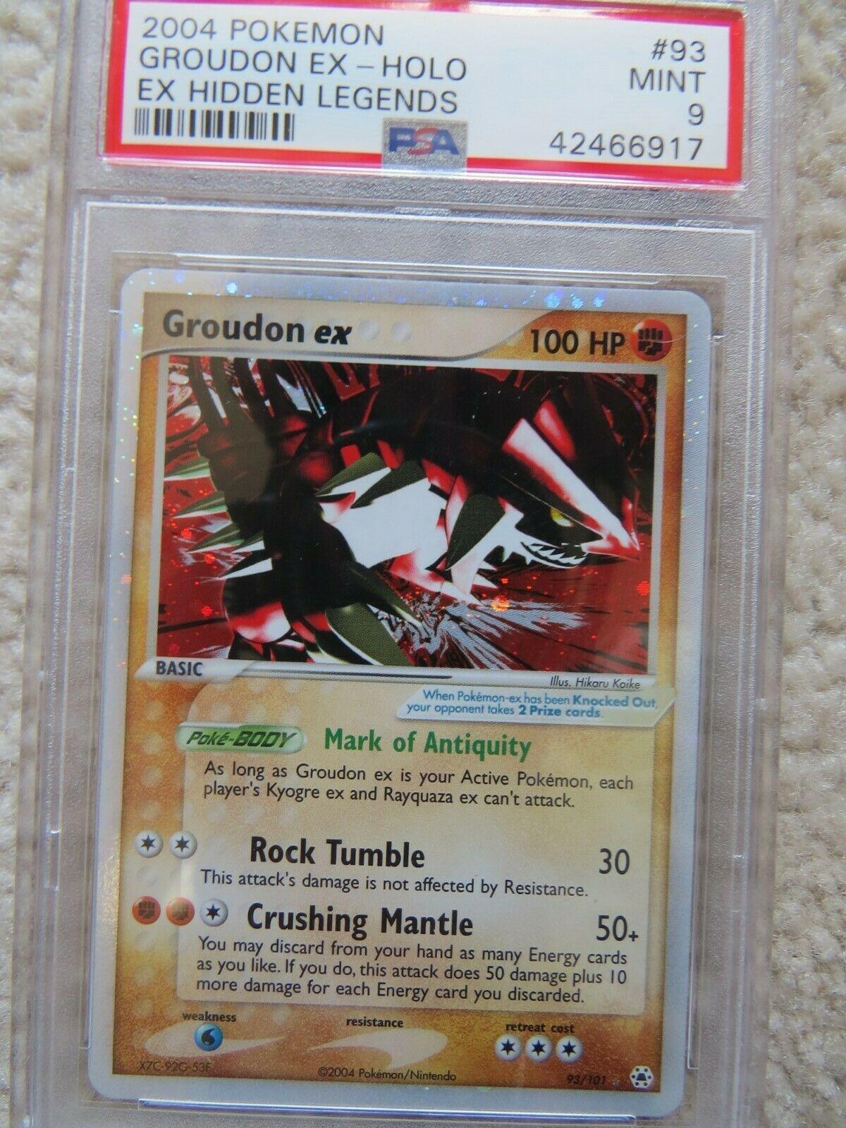 Pokemon Card  Ex Hidden Legends 93 Groudon ex PSA 9 Mint