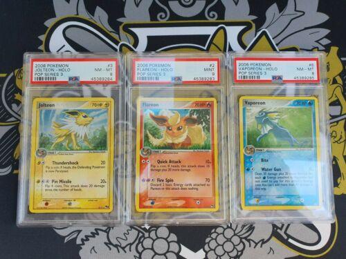 Flaeron Flamara Jolteon Blitza Vaporeon Aquana POP 3 Holo PSA 9 Mint Pokemon