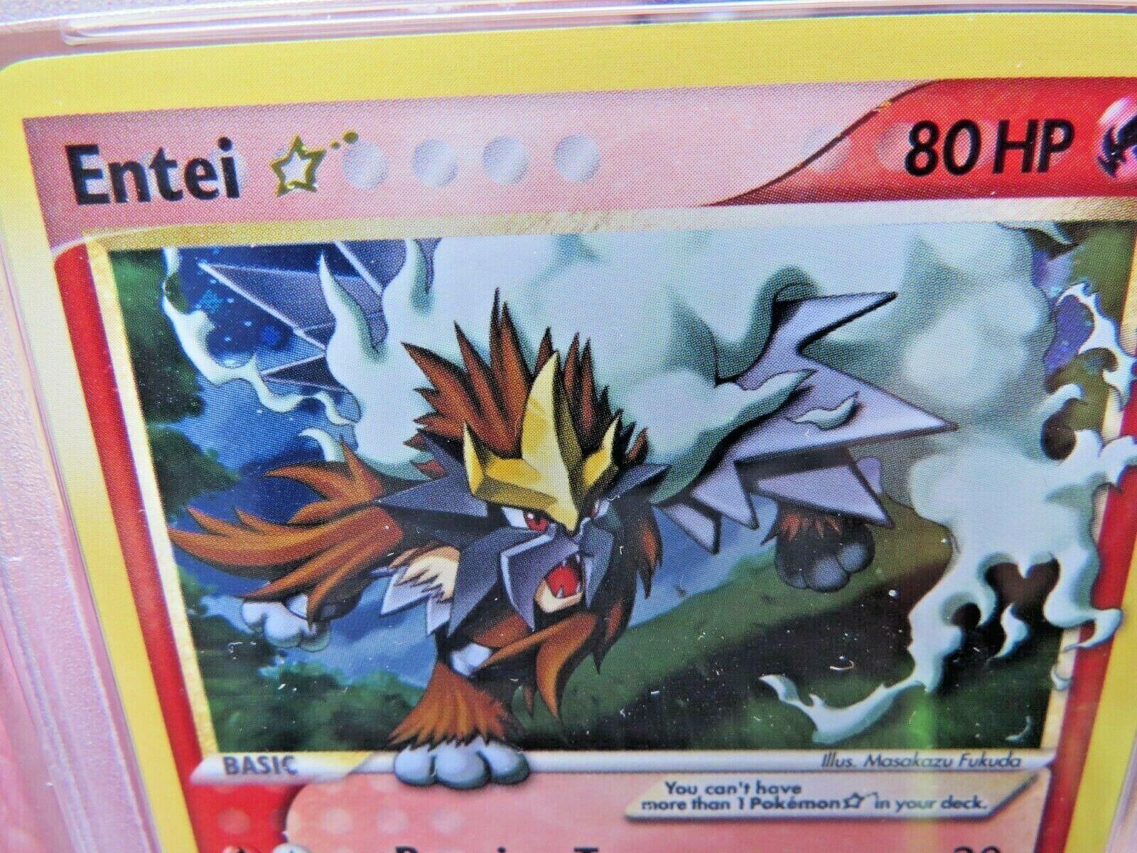 Pokemon Card  Ex Unseen Forces 113 Entei Gold Star PSA 9 Mint