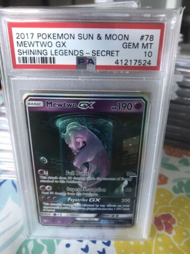 POKEMON SHINING LEGENDS 7873 MEWTWO SECRET FULL ART TUBE GX PSA 10 GEM MINT