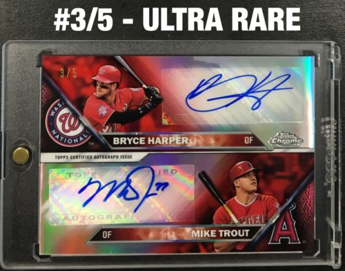2016 Topps Chrome MIKE TROUT BRYCE HARPER Dual Auto Autograph Red Refractor 35