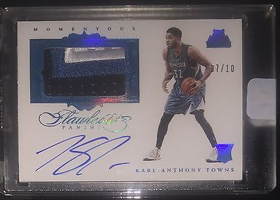 1516 FLAWLESS SAPHIRE RC PATCH AUTOGRAPH KARLANTHONY TOWNS auto GREAT