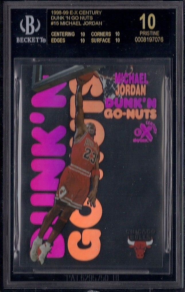 199899 EX Century Dunk N GoNuts MICHAEL JORDAN NO AUTO Black BGS 10 PRISTINE