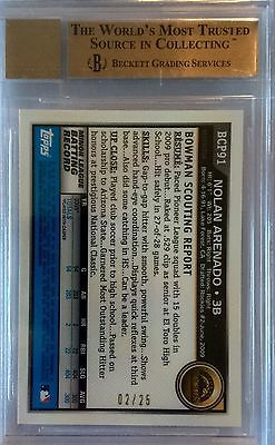 2010 BOWMAN NOLAN ARENADO CHROME ORANGE REF PROSPECTS BGS 95 GEM MINT 0225