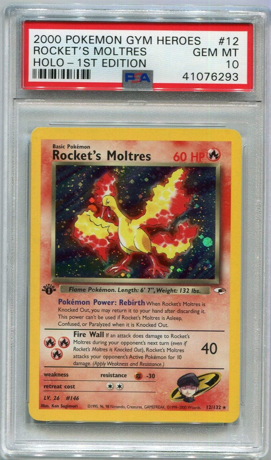 Pokemon Card 1st Edition Rockets Moltres Gym Heroes 12132 PSA 10 Gem Mint