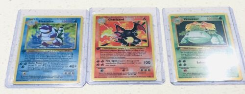 Pokemon Base Shiny Charizard Blastoise Venasuar 1st Edition Reverse Holo Card
