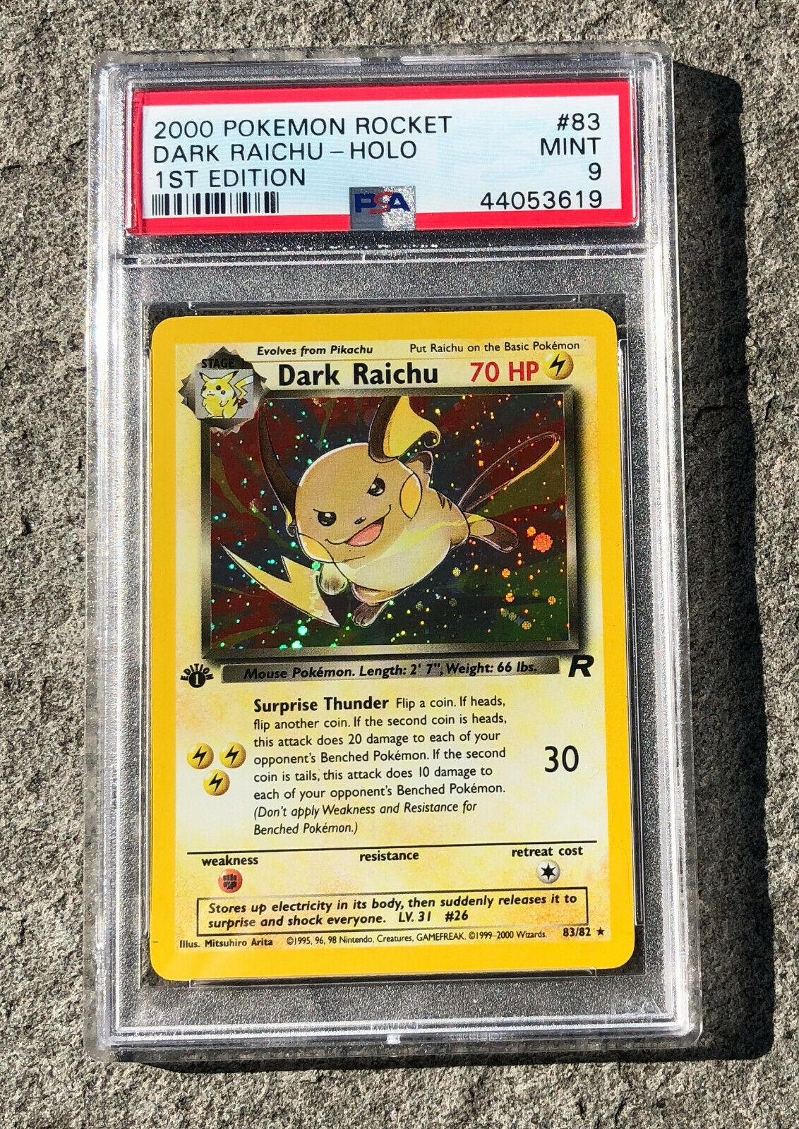 Pokemon Card  PSA 9 MINT 1st Edition Holo Dark Raichu Rocket 2000