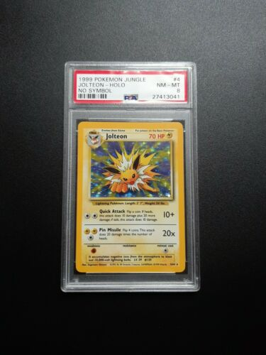 1999 Pokemon Jolteon Holo 464 No Symbol Jungle PSA NMMT 8  ErrorMisprint