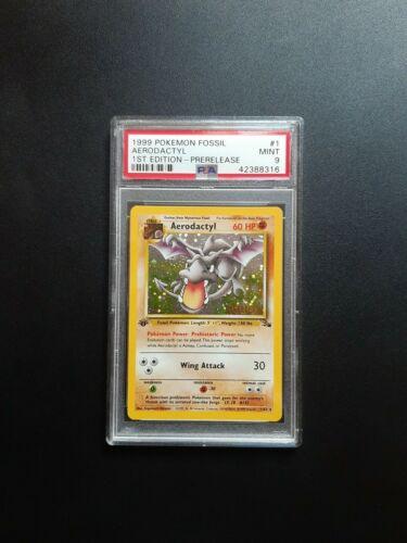 1999 Pokemon Aerodactyl Holo 162 1st Edition Fossil EU Prerelease PSA Mint 9