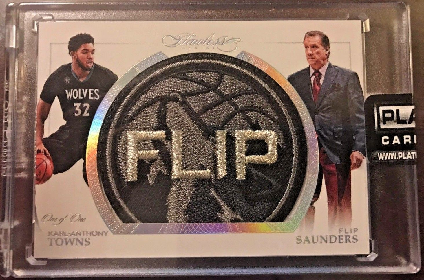 HOLY GRAIL 201516 FLAWLESS Karl Anthony Towns FLIP SAUNDERS PATCH LOGOMAN TYPE