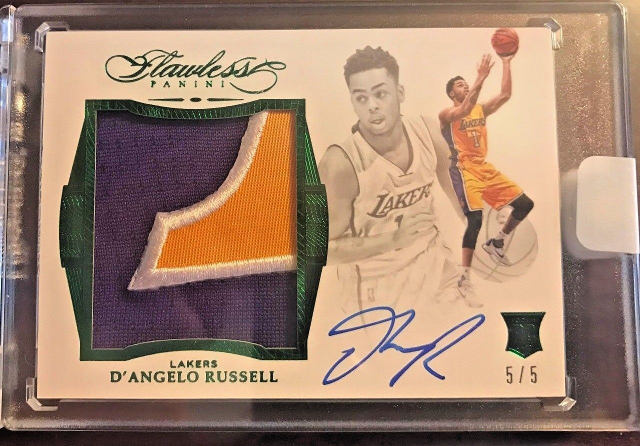 201516 Flawless Rookie Patch Auto DAngelo Russell 3 Color EMERALD SUPER RARE