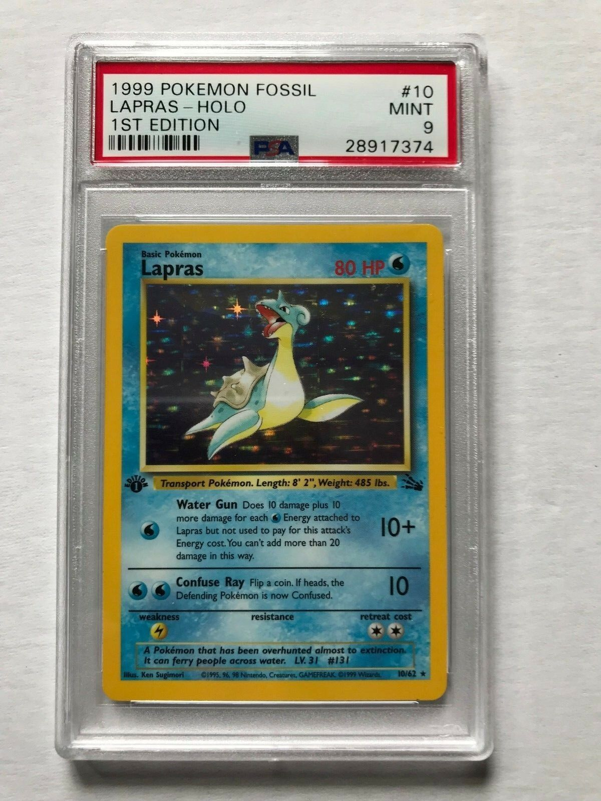 1999 Pokemon Card 1st Edition Lapras Holo Foil Fossil Graded PSA 9 Mint