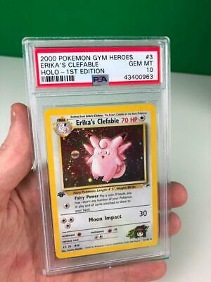 PSA 10 Erikas Clefable 1st Edition Gym Heroes Holo Holographic Pokemon Card
