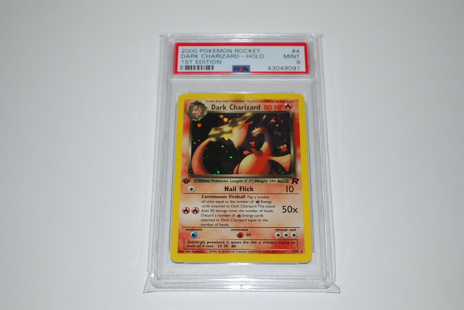 PSA 9 Mint 1st Edition Dark Charizard Holo 482 Pokemon Card 19992000