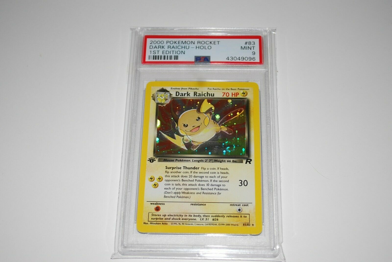 PSA 9 Mint 1st Edition Dark Raichu Holo 8382 Pokemon Card 19992000
