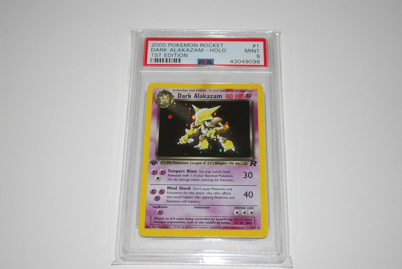 PSA 9 Mint 1st Edition Dark Alakazam Holo 182 Pokemon Card 19992000