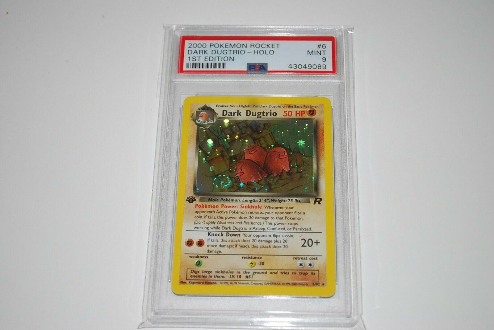 PSA 9 Mint 1st Edition Dark Dugtrio Holo 682 Pokemon Card 19992000