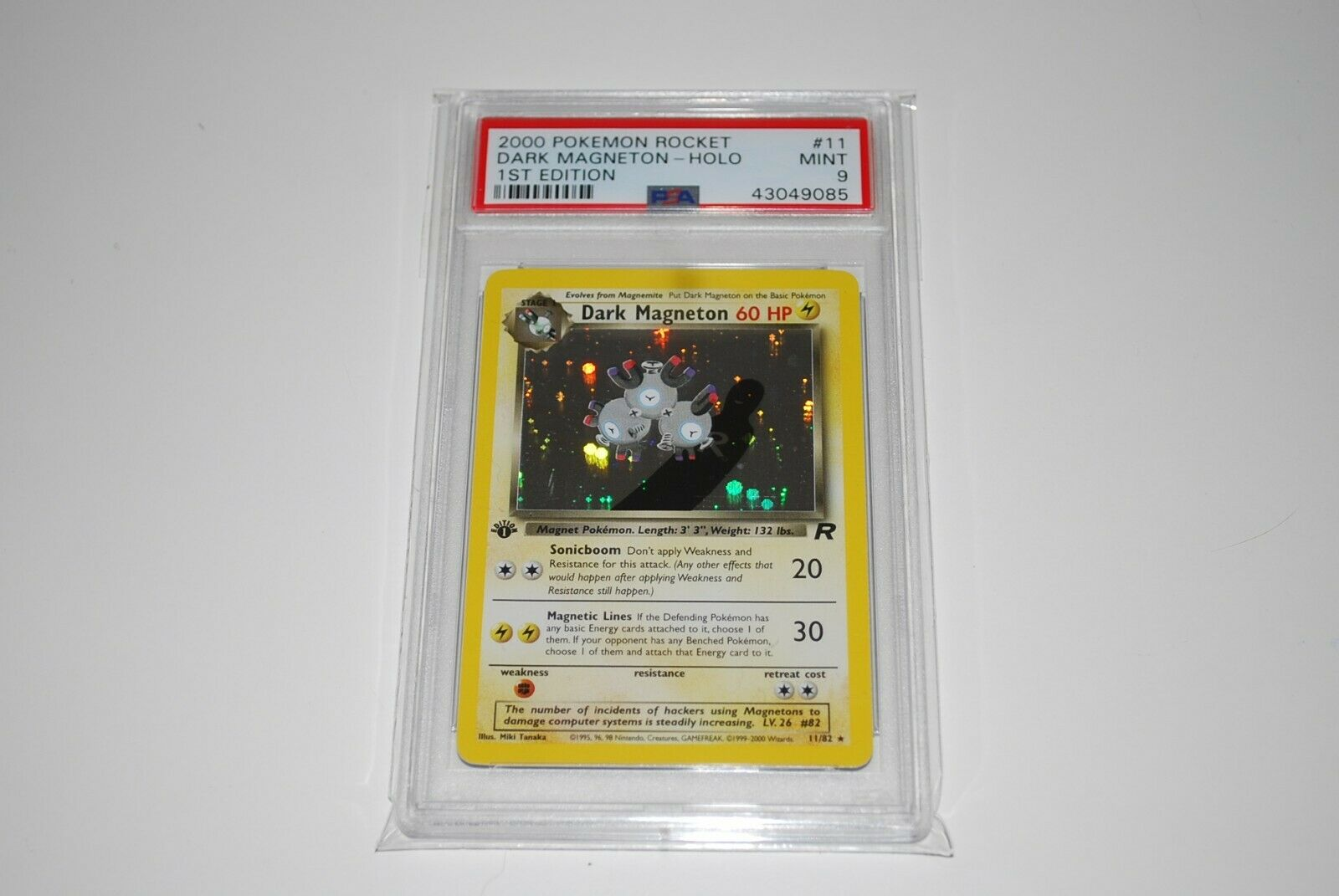 PSA 9 Mint 1st Edition Dark Magneton Holo 1182 Pokemon Card 19992000