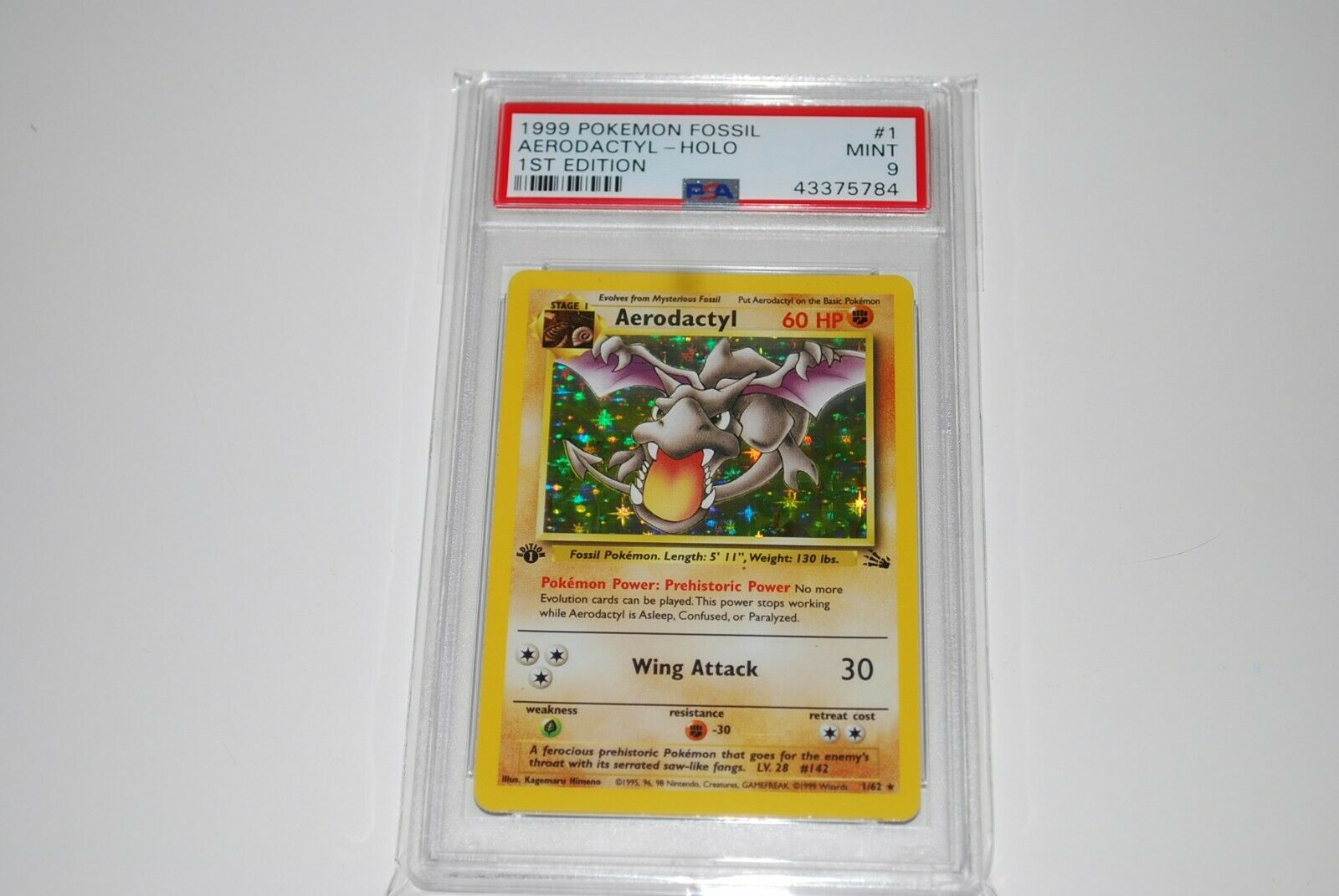 PSA 9 Mint 1st Edition Aerodactyl Holo 162 Fossil Pokemon Card 1999