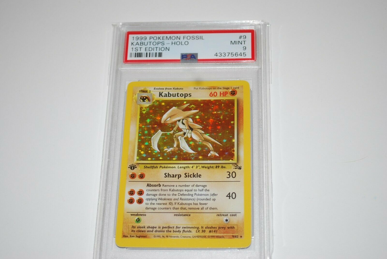PSA 9 Mint 1st Edition Kabutops Holo 962 Fossil Pokemon Card 1999