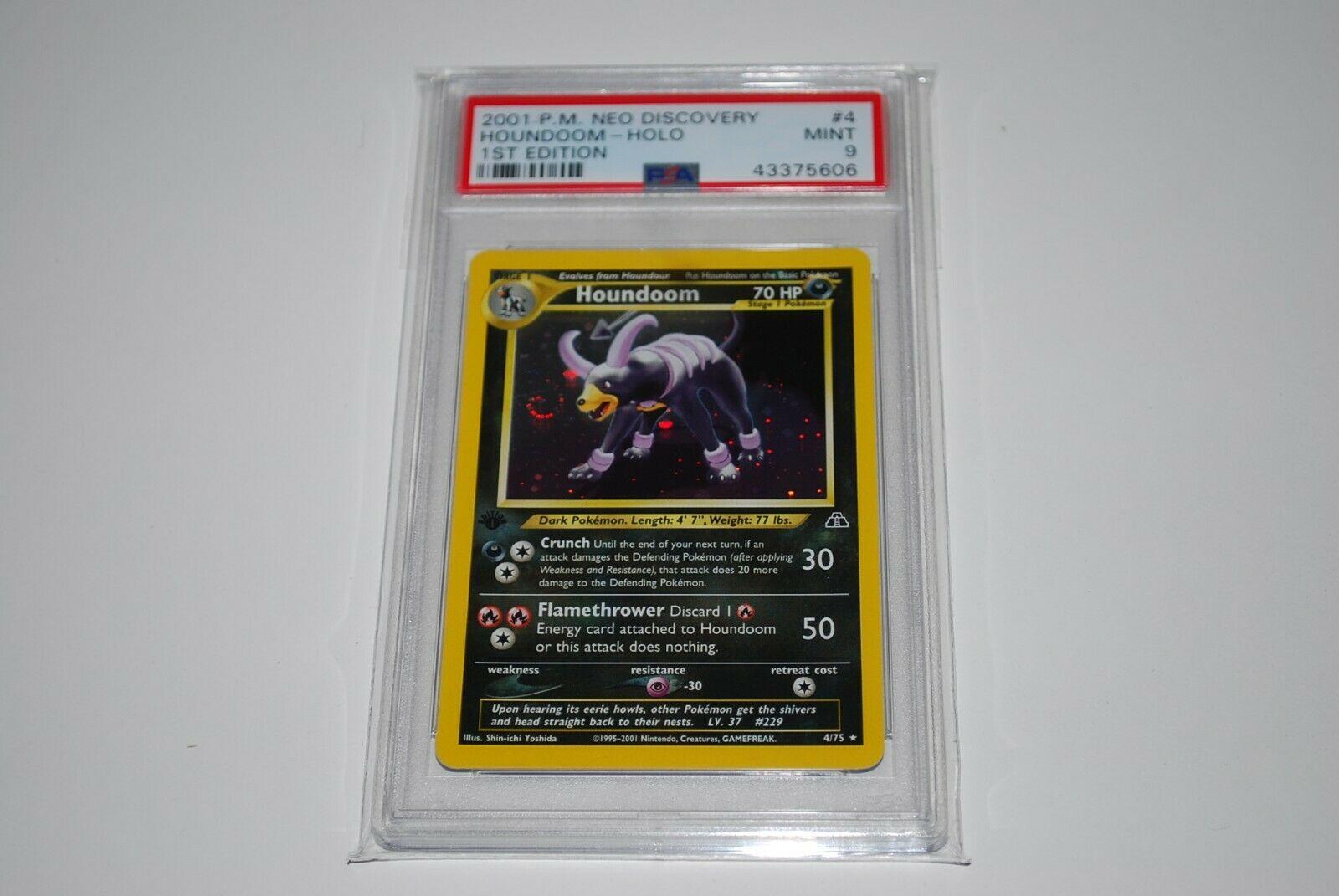 PSA 9 Mint 1st Edition Houndoom Holo 475 Neo Discovery Pokemon Card 1999