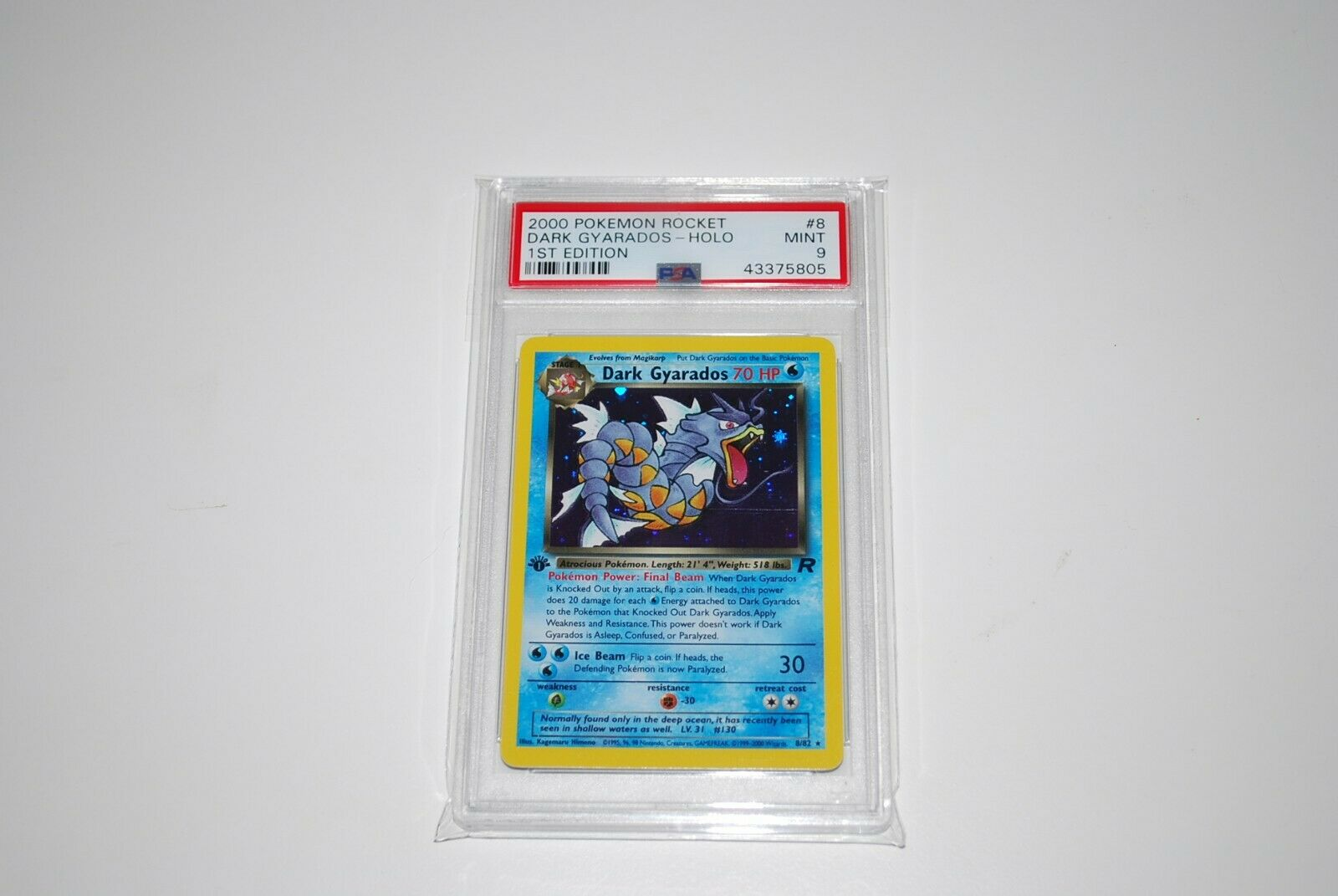 PSA 9 Mint 1st Edition Dark Gyarados Holo 882 Team Rocket Pokemon Card