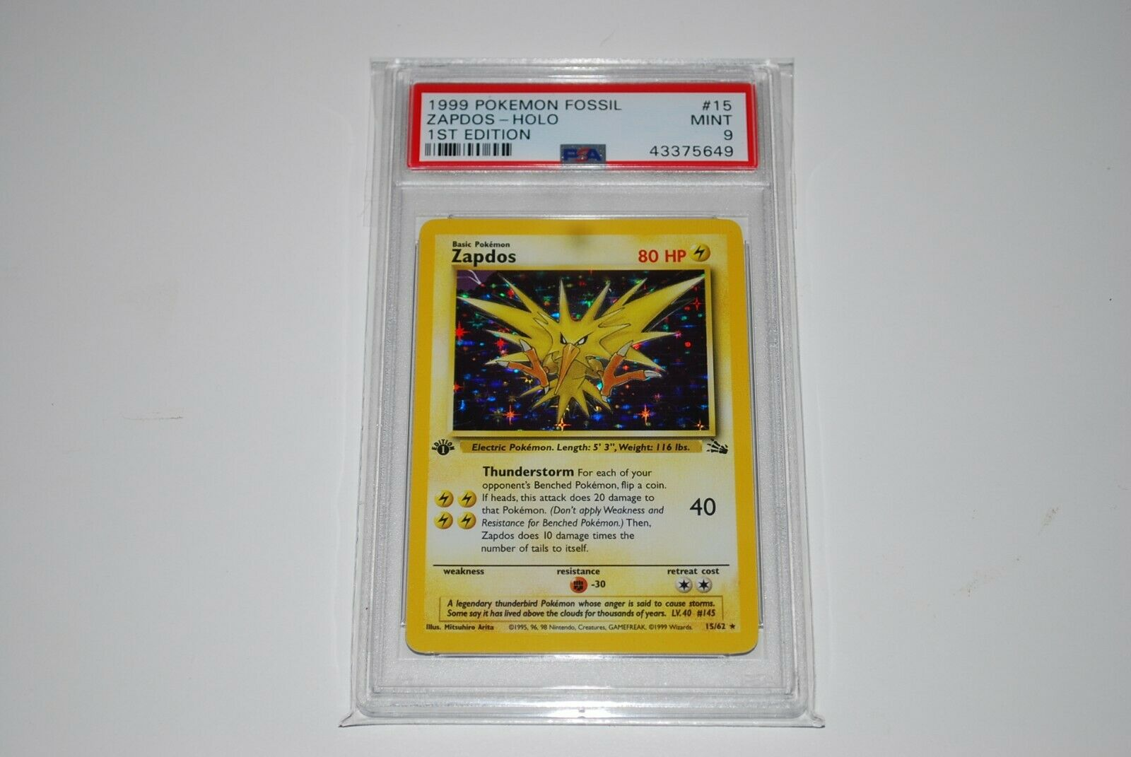 PSA 9 Mint 1st Edition Zapdos Holo 1562 Fossil Pokemon Card 19992000