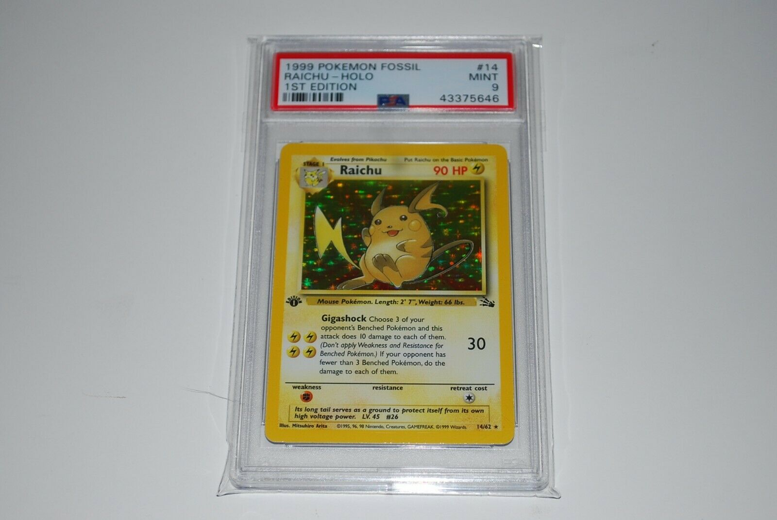 PSA 9 Mint 1st Edition Raichu Holo 1462 Fossil Pokemon Card