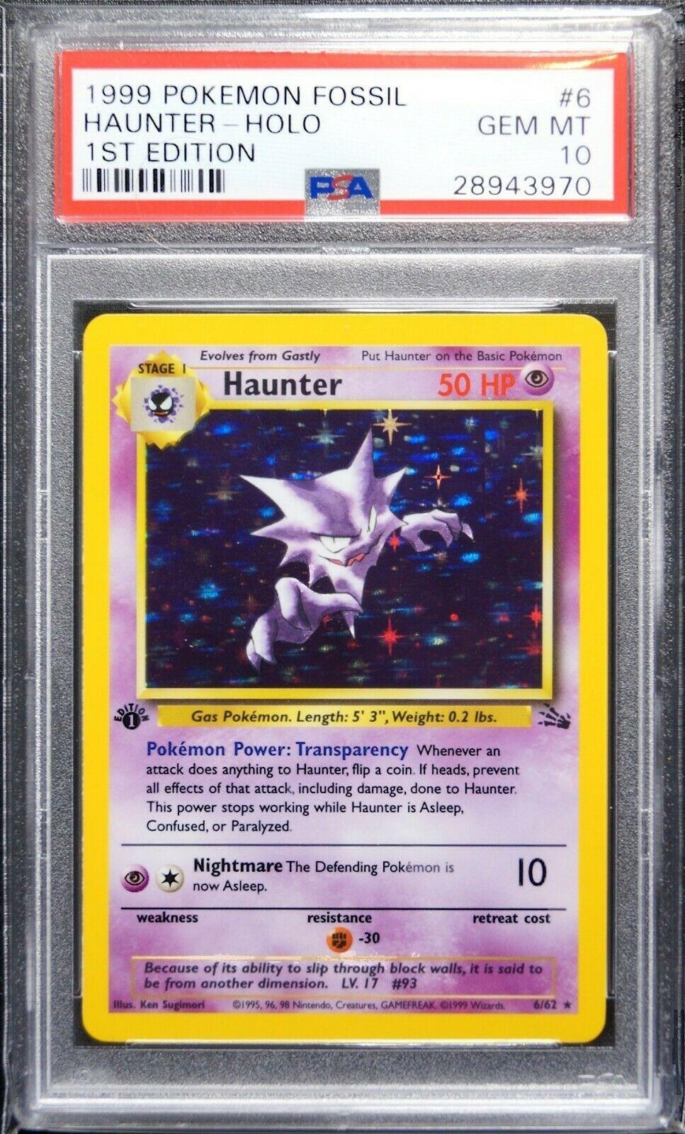 PSA 10 Gem Mint Haunter 1st edition Holo Fossil 1999 Pokemon Card 662