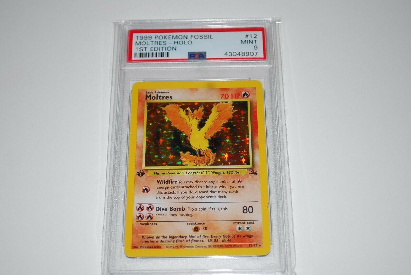PSA 9 Mint 1st Edition Moltres Holo 1262 Fossil  Pokemon Card 1999